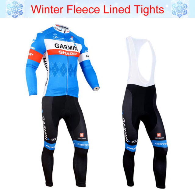 Mens Winter Cycling Fleece Thermal Jersey Bib Pants Kit Racing Shirt Tights Set