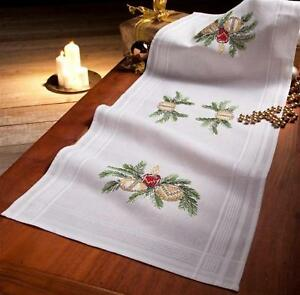 Christmas Candles /& Baubles Deco-Line Printed Cross Stitch Tablecloth Kit