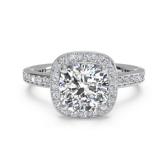 NEW 4.00CT VVS1-D CUSHION ENGAGEMENT RING SOLID 14K WHITE gold HALO DIAMOND RING