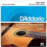 D'addario Ej83l Gypsy Jazz Acoustic Guitar Strings 10-44 Light Gauge Ball End