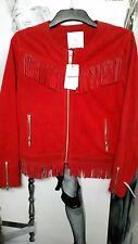 "WOMEN COWBOY BIKER JACKET RICH DARK RED REAL SUEDE""M N G""LEATHER FRINGED USA M"