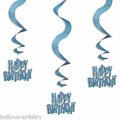 6 Blue Glitz Happy Birthday Party Hanging Holographic Swirls Decorations