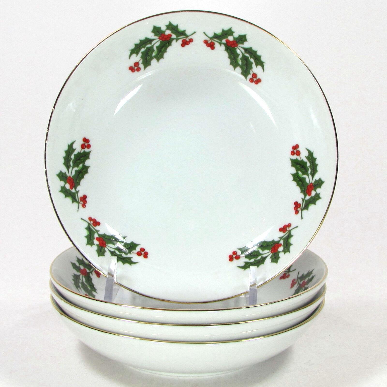 Kashima CHRISTMAS HOLLY 5.5 5.5 5.5  Bowl Set 4Pc Japan Weiß Gold Trim Porcelain NIB 9002dc
