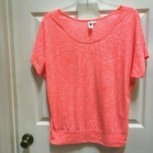 Love-Rocks-Orange-Top-XL-Dolman-sleeves-Blouse
