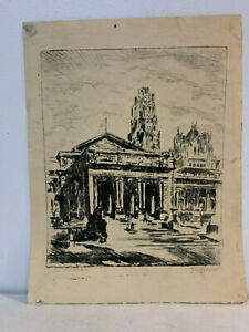 Vintage-Antique-Signed-Etching-Print-of-the-New-York-Public-Library