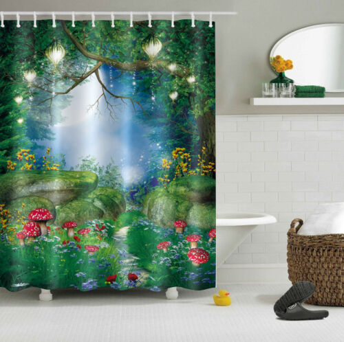 "Bathroom Waterproof Fabric Peel Panel 60x72/"" Shower Curtain Set Fairy Tale Light"