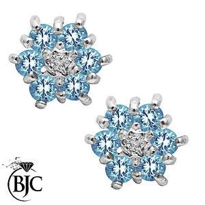 BJC-9kt-Oro-Giallo-Topazio-Naturale-amp-Diamante-Orecchini-A-Lobo-A-Grappolo
