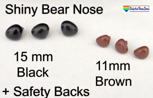 Safety Nose Pack Of 5 Brown Teddy Bear Supplies 11mm