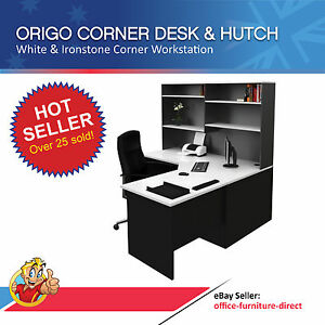 Image is loading Home Office Corner Workstation Desk with Hutch Computer Home Office Corner Workstation Desk with Hutch  Computer Study  . Office Furniture Direct Adelaide. Home Design Ideas