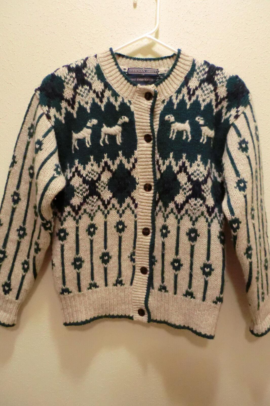 Vtg. Herman Geist Wool Sweater with Dogs Green Tan bluee Size S Women's