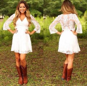 Details About Short Lace Wedding Dresses Mini Bridal Gowns White Ivory Reception Dress Custom