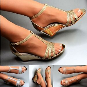 Details about Ladies Mid Heel Wedge Shoes Diamante Bridal Prom Evening Sparkly Strappy Sandals