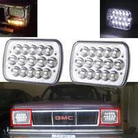 Pair LED H6054 7x6 inch Head Light Housing Diamond Cut Lamp Conversion Chrome