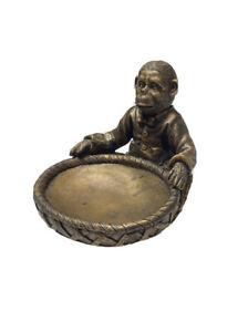 Vintage-Monkey-Ceramic-Home-Decor-Bronze-Soap-Dish-Trinket-Bowl-British-Colonial