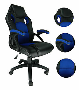 Blue-Swivel-PU-Leather-Mesh-Office-Racing-Gaming-Reclining-Computer-Desk-Chair