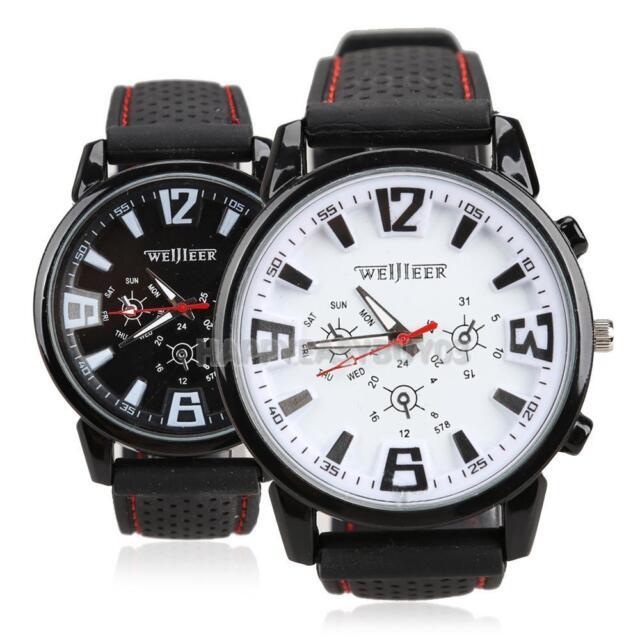 Mens Luxury Watches Quartz Stainless Steel Analog Silicone Sports Wrist Watch