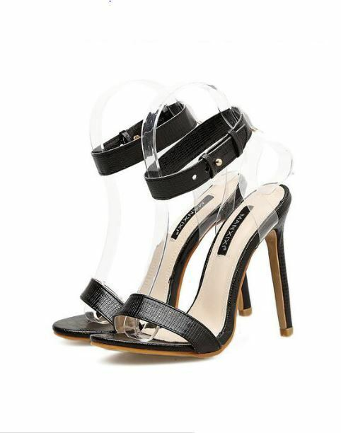 Sandale stiletto eleganti sabot 11 cm nero simil pelle eleganti CW889