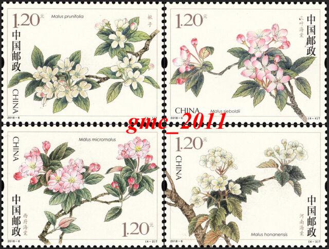 China Stamp 2018-6 Flowering Crabapple Begonia Flowers MNH
