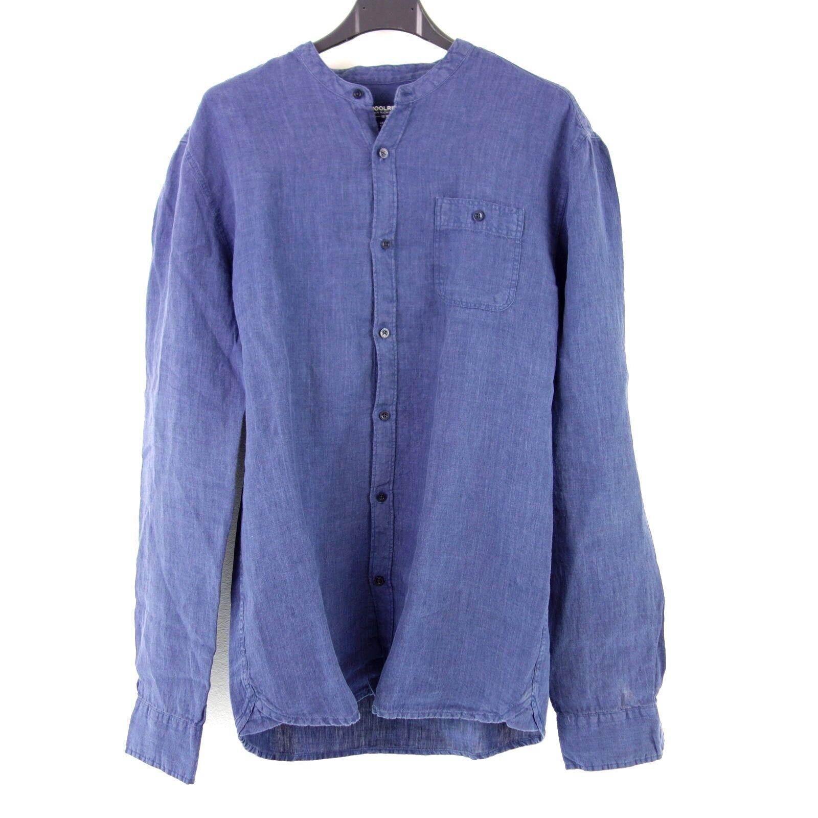 Woolrich camisa M L  azul puro lino lino camisa corean collar NP 140 nuevo  calidad oficial