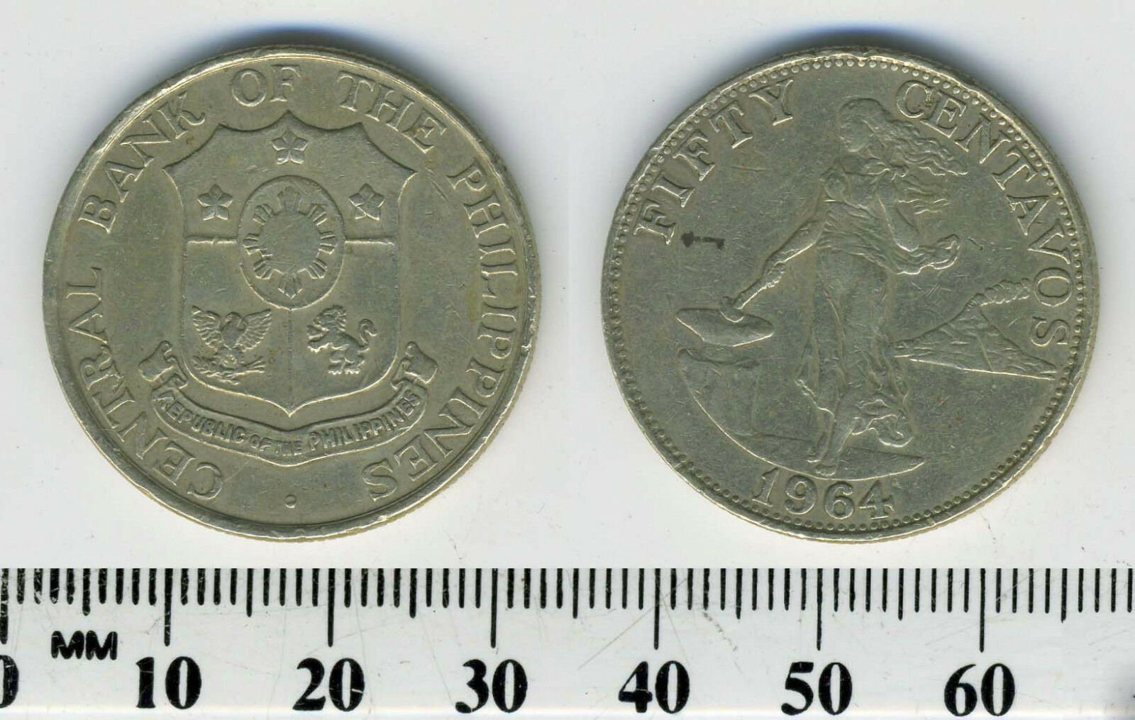 Philippines 1966-25 Centavos Copper-Nickel-Zinc Coin #1 Female standing