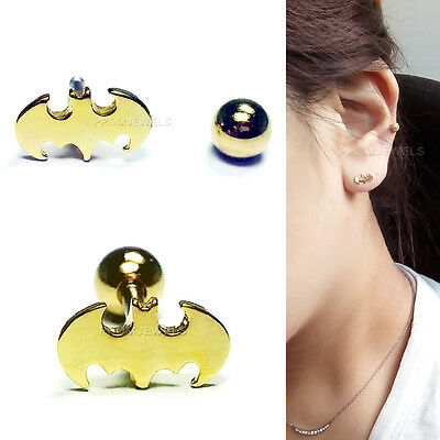 16G Gold Plated Bat Man Barbell Earrings Body Lip Ear Piercing Helix Cartilage