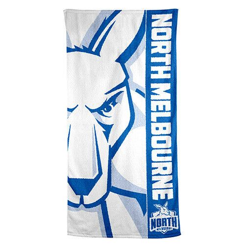 North Melbourne Kangaroos AFL Printed 75cm x 150cm Cotton Velour Beach Towel New