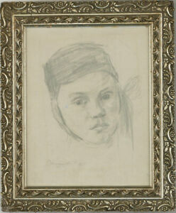 Framed 1951 Graphite Drawing - Head Study of a Girl Wearing a Hat