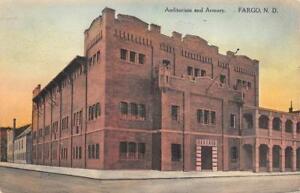 Auditorium-amp-Armory-Fargo-North-Dakota-1915-Hand-Colored-Vintage-Postcard