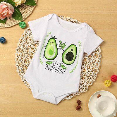 Infant Kids Baby Girl Boy Fruit Letters Bodysuit Romper Jumpsuit Clothes Outfits