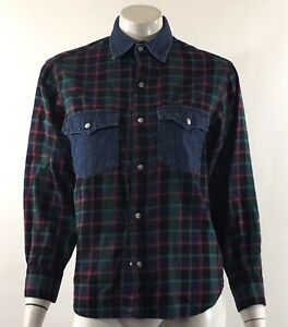 Guess-Womens-Top-Size-XS-Petite-Blue-Green-Plaid-Flannel-Snap-Front-Vintage-90s