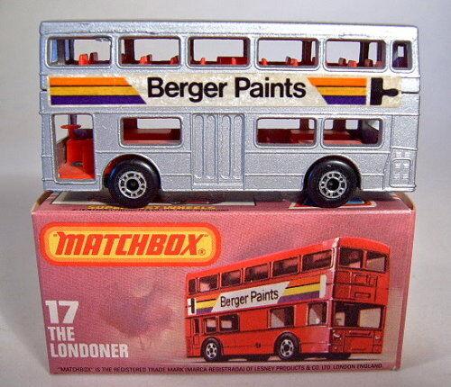 MATCHBOX sf Nº 17b the londonien  Berger paints  argentées carrosserie top dans Box