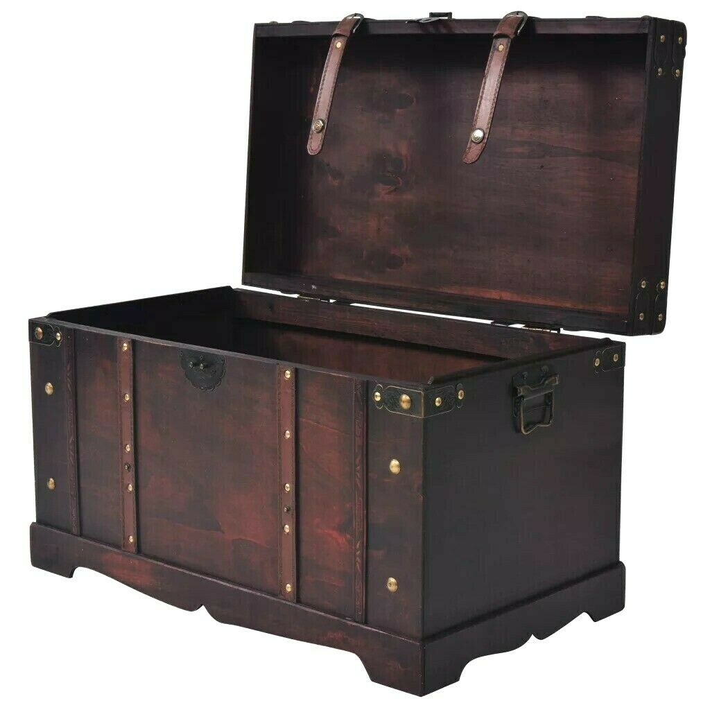 Wooden Treasure Chest Steamer Trunk Wood Vintage Large Book Storage Cabinet Box