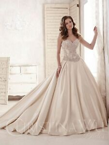 NWT-DARK-ivory-silver-Christina-Wu-Size-14-Rhinestone-princess-bridal-gown