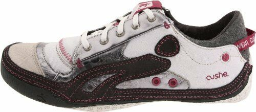 Women's Cushe Boutique Sneak White/Silver/Charcoal  Size : US 8 -