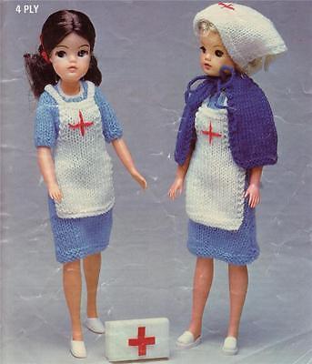 COPY doll knitting pattern 4ply BARBIE NURSE  PATTERN SINDY
