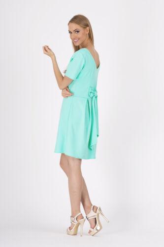 Royaume-Uni Elegant Women/'s Shift Robe à manches courtes Tunique Encolure Dégagée Taille 8-12 FA301