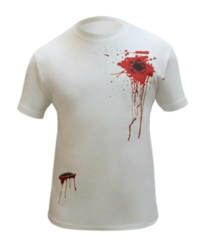 Men Printed Bloody T Shirts Gun Shot Slash Zombie Halloween Boys Top Fancy Dress
