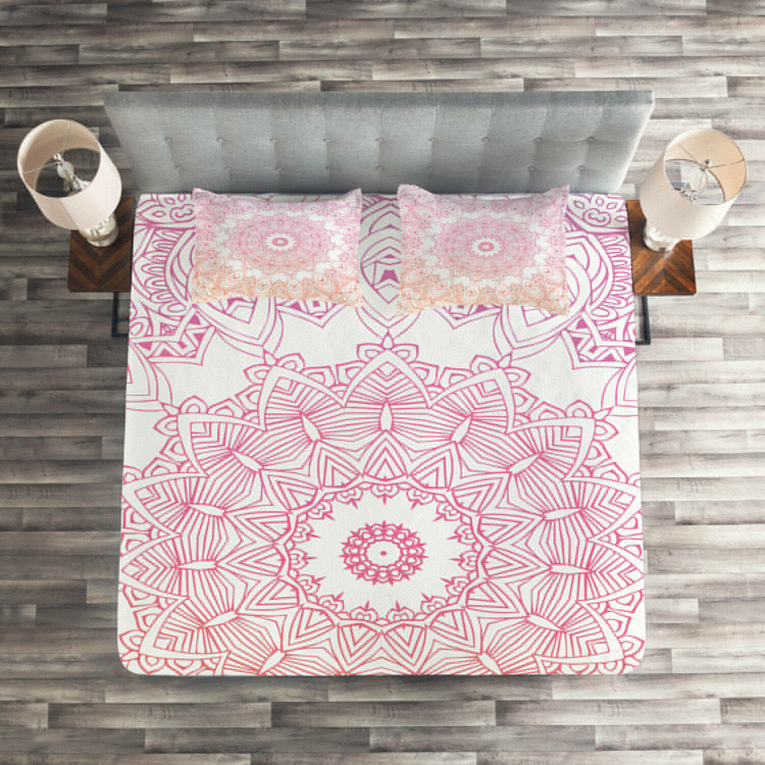 Mandala Quilted Coverlet & Pillow Shams Set, Outline Style Flowers Print