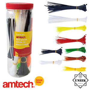 500-Assorted-Colours-Cable-Ties-Length-Zip-Tie-Red-Various-Sizes-Amtech-S0680