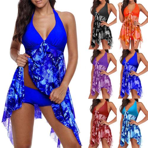 Donna Scollo a V Tankini Bikini Farfalla Costume Spiaggia da Bagno Abito