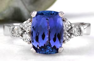 3-80-Carats-NATURAL-TANZANITE-and-DIAMOND-14K-Solid-White-Gold-Ring