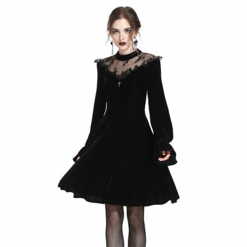DARK IN LOVE Samt-Kleid Schwarz Victorian Velvet Dress Gothic Skaterkleid Kreuz