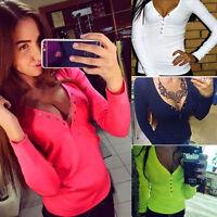 Damen Sexy Bluse V Auschnitt Langarmshirt Stretch Longshirt 4 Farben NEU
