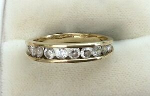 Lovely-Ladies-Vintage-9ct-Gold-Fancy-Channel-Set-White-Stone-Ring-Size-O
