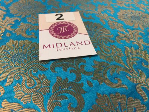 Golden Ornamental metallic print Indian faux silk banarsi Brocade fabric M244