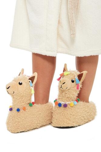 Girls Ladies Llama Slippers Fleece Children Lama Womens Matching Mother Daughter