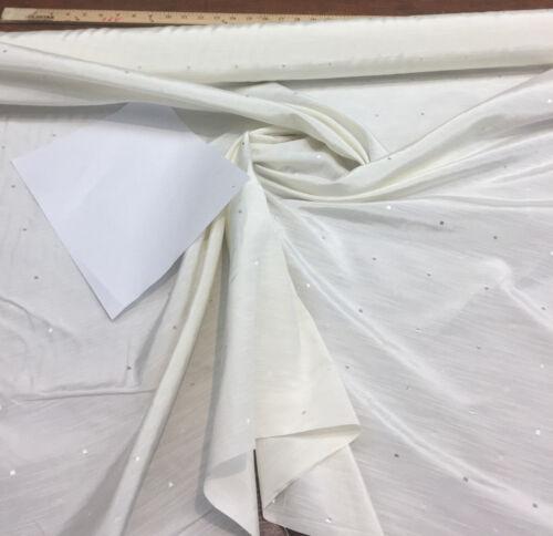 25 Yard Roll Regal Squares Winter White Drapery Faux silk Fabric