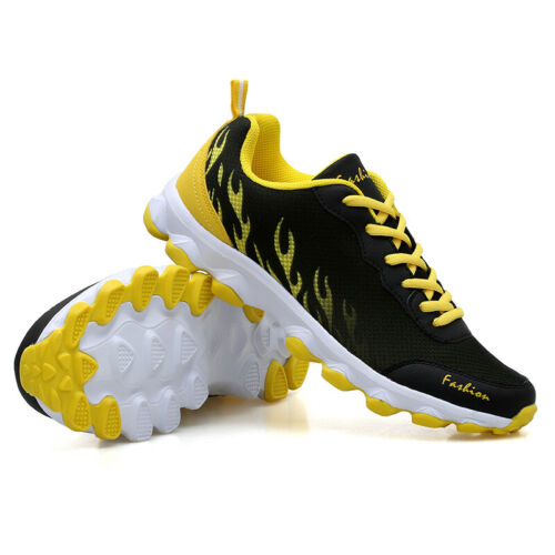 NewMensSneakersFashion TrainersSportSneakersCasualFirePrintedMeshShoes