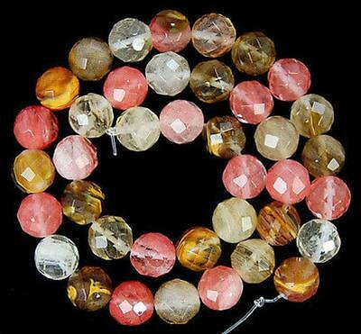 10mm Faceted Watermelon Tourmaline Round Gemstone loose Beads 15""
