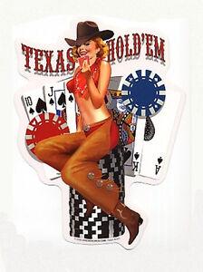 TEXAS-HOLD-EM-Casino-Gambling-PINUP-GIRL-STICKER-DECAL